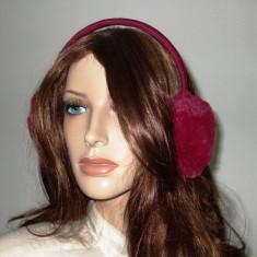 Casti pentru urechi de iarna calduroase puf roz visiniu - Coronita