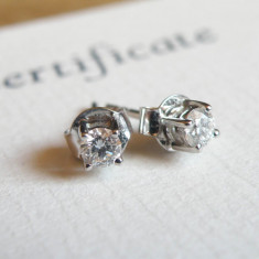 Cercei din aur alb cu diamante naturale - Cercei cu diamante