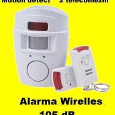 Sisteme de alarma - Sistem ALARMA wireless cu 2 Telecomenzi+ senzor miscare pt casa apartament garaj