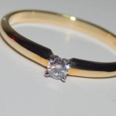 Inel logodna diamant 0, 09ct aur galben 14k OFERTA !!! REDUS !!! - Inel de logodna