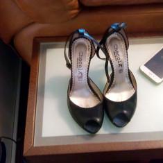 Pantofi sandale dama piele CHOCOLA, Marime: 36, Culoare: Negru, Piele naturala