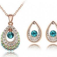 Set bijuterii -Vintage Gold- placat aur 18 k, cristale cubic zirconia+CUTIUTA - Set bijuterii placate cu aur Firesq