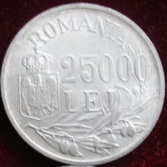 Monede Romania, An: 1941 - Moneda argint de 25 000 lei -1946-eroare liniuta!