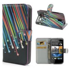 Husa tip carte cu stand neagra (meteoriti) (MLC) pentru telefon HTC Desire 500 / 506E