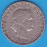 (M707) MONEDA ELVETIA - 20 RAPPEN 1884, Europa