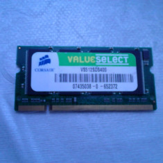 MEMORIE LAPTOP DDR 512MB 400MHZ CORSAIR VALUE SELECT IMPECABILA - Memorie RAM laptop