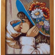 Goblen - Fetita cu flori