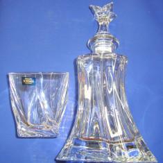 Cristal BOHEMIA set 6 pahare cu sticla whisky model clar - rasucit 240 ml - Arta din Sticla