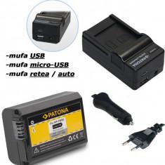 PATONA | Incarcator 4in1USB+ Acumulator compatibil Sony NP-FW50 NP FW50 NPFW50 - Baterie Aparat foto