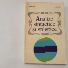 SORIN STATI, GH. BULGAR - ANALIZE SINTACTICE SI STILISTICE, R18