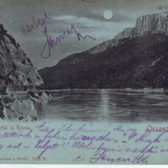 Romania, Orsova, carte postala circulata 1901: Cazane noaptea - Carte Postala Oltenia pana la 1904, Fotografie