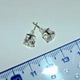 Cercei argint nemarcati - 6x6mm - patrat - 2+1 gratis produse pret fix KAY119