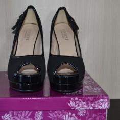 Pantofi cu platforma - Pantof dama, Marime: 36, Culoare: Negru, Piele sintetica