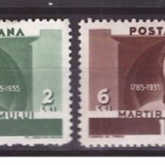 Timbre Romania - 1935 - Horia, Closca si Crisan, serie neuzata