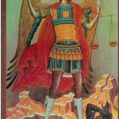 Obiecte Cult - Icoana sfintita sfantul mihail infrangand diavolul. Noua. In tipla.