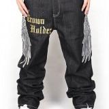 Pizoff Hip Hop Graffiti Print Baggy Jeans Denim