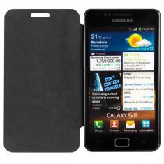 Flip cover negru protectie Samsung Galaxy S2 I9100 S II Plus Livrare imediata - Husa Telefon Samsung, Piele Ecologica, Cu clapeta, Carcasa