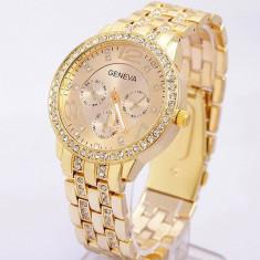 Ceas dama Geneva auriu gold curea metalica cristale + cutie cadou