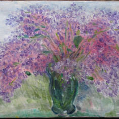 Tablou - Vaza cu liliac - semnat monogramic '92