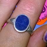 Inel argint 925 vechi, antic model deosebit cu email albastru!