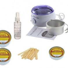 Kit Pro Wax cu Ceara Depilatoare, Ulei Relaxare dupa Epilare si Spatule indepartare Ceara - Ceara epilare