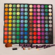 POZE REALE !! TRUSA 120 CULORI farduri ploape PROFESIONALE + 5 PENSULE, trusa fard machiaj makeup make-up TR43-2 - Fard pleoape