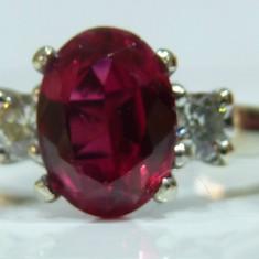 Inel aur 14k cu rubin si diamante - Inel aur alb, 46 - 56