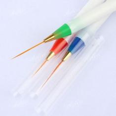 Ustensile - Set de 3 pensule pentru pictura pe unghii, pensule pentru tempera cu varf lung