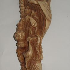 Arta din Asia - Statuie sculptura din alabastru cu aspect de marmura chinezoaica cu papagali
