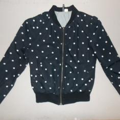 Jacheta stil bomber jacket H&M neagra cu buline albe - Jacheta dama H&m, Marime: 34, Culoare: Din imagine