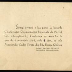 Hartie cu Antet - 1956 RPR, Conferinta Organizatiei Raionale de Partid Gheorghe Gheorghiu-Dej a PMR - Ministerul Cailor Ferate, invitatie propaganda comunista