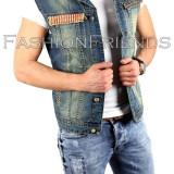 Vesta de blugi tip ZARA - vesta barbati - vesta slim fit - vestau fashion 3788