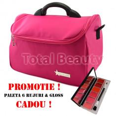 Geanta cosmetice - Geanta cosmetica si manichiura Fraulein38 Rose Pink + CADOU Paleta 6 Ruj