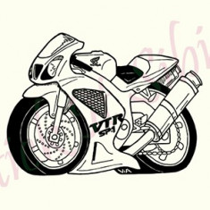 Motocicleta_Tatuaj Perete_Stickere Dec.Cod: WALL-643 Dim. : 40 cm. x 29.2 cm. - Tapet