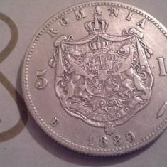Monede Romania - 5 LEI 1880 ARGINT DE COLECTIE /8