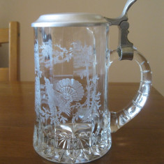Halba din sricla groasa cu model PAUNI / cu capac Zinc, Cristal/Sticla