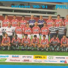 CARTE POSTALA - PSV EINDHOVEN - SEZONUL 1990-1991, CU GICA POPESCU SI ROMARIO - Autograf
