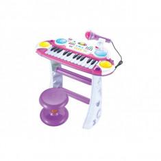 Instrumente muzicale copii - Orga multifunctionala cu microfon si scaunel pentru copii