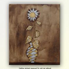 Tablou, An: 2015, Flori, Ulei - Pictura in relief, Vaza cu floarea soarelui (3), ulei pe panza 60x50cm