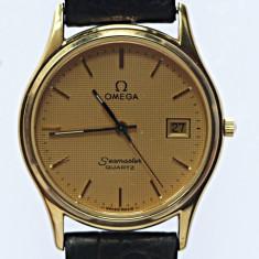 Ceas Barbatesc omega, Elegant, Quartz, Placat cu aur, Piele, Data - Omega Seamaster Quartz, unisex, Original