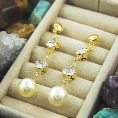 Cercei placati cu aur - Cercei Lungi, Placati cu Aur 18k, cu Zirconiu si Perla, cod 1314