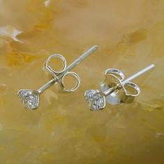 Cercei argint - Cercei din Argint 925, model rotund, cu Zirconiu, cod 705