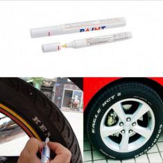 Vopsea auto - Marker permanent vopsea alba cauciucuri auto / moto