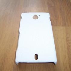 Husa tip capac spate alba (cu puncte) pentru telefon Sony Xperia Sola (MT27i)