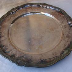 Argint, Tava - Impresionanta tava din alpacca marcata GAB NS ALP, cu diametrul de 32 cm