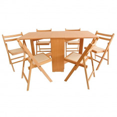 Bucatarie standard - Set masa plianta MD1 cu 6 scaune pliante
