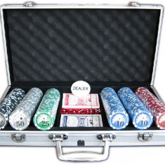Masa de joc poker - Set jetoane poker in geanta metalica