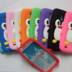 Carcasa protectie spate pinguin din silicon pentru Samsung Galaxy S4 mini I9190 - alba - Husa Tableta
