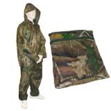 Costum Impermeabil Ploaie Pescuit Vanatoare cu Gluga Captusit cu Plasa + Husa