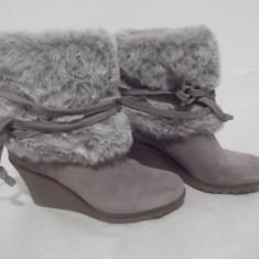 Cizme/botine Max Shoes - Botine dama, Culoare: Gri, Marime: 38, Piele naturala
